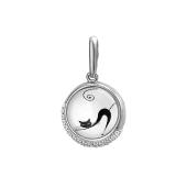 Подвеска Амулет кошка с фианитами и стеклом, серебро