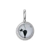 Кулон Амулет Кошка со стеклом и фианитами, серебро