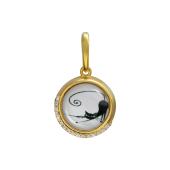 Кулон Амулет Кошка со стеклом, серебро с позолотой