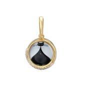 Кулон Амулет Черный кот с фианитами и стеклом, серебро с позолотой