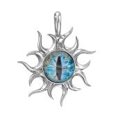 Кулон Амулет Глаз голубой со стеклом, серебро