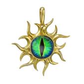 Кулон Амулет Глаз сине-зеленый со стеклом, серебро с позолотой