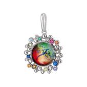 Кулон Амулет Дерево со стеклом, серебро