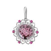 Кулон Амулет Дерево со стеклом и розовыми фианитами из серебра
