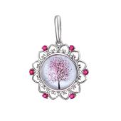 Кулон Амулет Дерево Сакура со стеклом, серебро