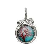 Кулон Амулет Дерево с голубым стеклом, серебро