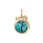 Кулон Амулет Дерево с голубым стеклом, серебро с позолотой
