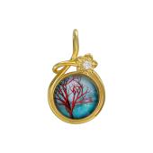 Кулон Амулет Дерево со стеклом из серебра с позолотой