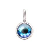 Кулон Амулет Глаз в сюрреалистическом стиле с голубым стеклом из серебра