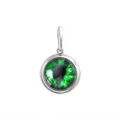 Кулон Амулет Глаз в сюрреалистическом стиле с зеленым стеклом из серебра