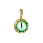 Кулон Амулет Глаз зеленый со стеклом, серебро с позолотой