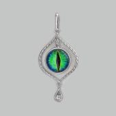 Кулон Амулет Глаз сине-зеленый со стеклом, серебро