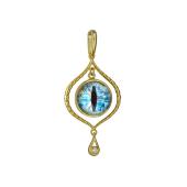 Кулон Амулет Глаз в сюрреалистическом стиле со стеклом из серебра с позолотой