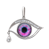 Кулон Амулет Глаз сиреневый со стеклом, серебро