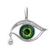 Кулон Амулет Глаз зеленый в стиле Сальвадора Дали, серебро