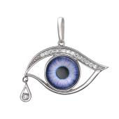 Кулон Амулет Глаз лиловый в стиле Сальвадора Дали, серебро