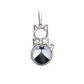 Кулон Амулет кошка с фианитом и стеклом, серебро