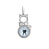 Подвеска Амулет кошка с стеклом и фианитом, серебро