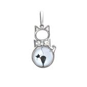 Подвеска Амулет кошка со стеклом и фианитом, серебро