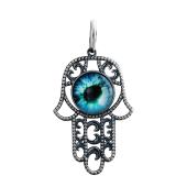 Кулон Амулет Глаз Фатимы (Хамса) со стеклом из серебра