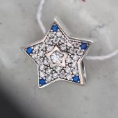 Кулон Звезда с синими и прозрачными фианитами, серебро