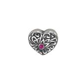 Подвеска Сердце с рубином из серебра 925 пробы с чернением
