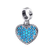 Подвеска Сердце с нанобирюзой из серебра 925 пробы с чернением