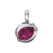 Подвеска Гранат с рубиновыми фианитами, серебро