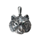 Подвеска Тигр с зелеными глазами, серебро с чернением