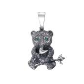 Подвеска Мишка с наноизумрудами из серебра 925 пробы с чернением
