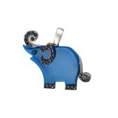 Подвеска Слон с голубым пластиком и фианитами из серебра 925 пробы