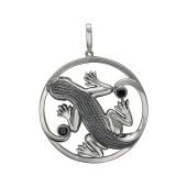 Кулон Ящерица с черными фианитами, серебро