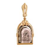 Казанская икона Божьей Матери в окладе с раухтопазом, красное золото