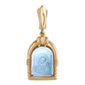 Божья Матерь Казанская в узорном окладе с камнем, красное золото
