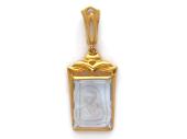 Божья Матерь Казанская в прямоугольном окладе с топазом, красное золото