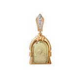 Казанская Икона Божьей Матери с кварцем и фианитами из красного золота