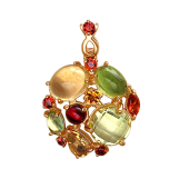 Подвеска Леденцы круглая с гранатом, кварцем, хризолитом и цитрином, красное золото