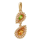Кулон Колибри с цитрином и хризолитом, красное золото