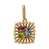 Кулон Колибри с хризолитом, аметистом и топазом, красное золото