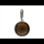 Кулон с аметистом/кварцем/топазом огранки круг, белое золото