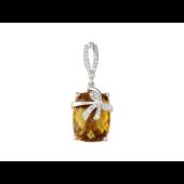 Кулон Бант с полудрагом формы Антик и фианитами, белое золото