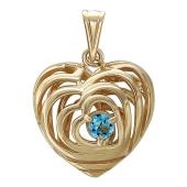Кулон Чистое Сердце с топазом, внутри много сердец, желтое золото