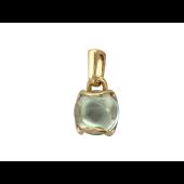 Кулон с круглым гладким камнем кабошон, желтое золото, 585 пробы