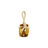 Кулон Бант с полудрагом формы Антик и фианитами, желтое золото