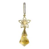Кулон Цветы с цитрином и фианитами, желтое золото