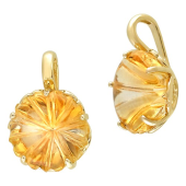 Кулон Цветы с празиолитом (цитрином), желтое золото