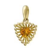 Кулон Колибри с цитрином, желтое золото