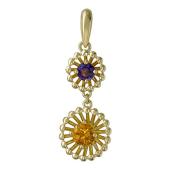 Кулон Колибри с аметистом и цитрином, желтое золото
