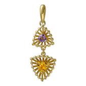 Кулон Колибри с цитрином аметистом, желтое золото