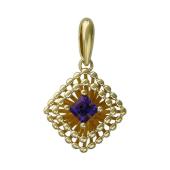 Кулон Колибри с квадратным аметистом, желтое золото